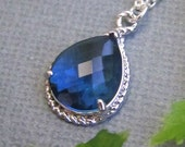 Blue Sapphire Crystal necklace in STERLING Silver. Bridal. Wedding. Bridesmaids Gift. Formal. Prom.