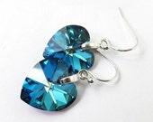 LOVE SALE Bermuda Blue Swarovski Heart Crystal sterling silver earrings