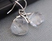 Crystal Clear Swarovski Briolette Earrings in Silver. Bridesmaids Gift. Wedding Earrings.