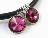 Fuschia Swarovski rivoli crystal earrings