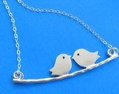 Two Love Birds on the swing STERLING SILVER necklace