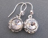 Crystal Clear Rivoli sterling silver earrings with Cubic Zirconia. Bridal. Bridesmaids Gift. GLAMOROUS.