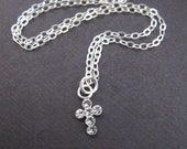LOVE SALE Tiniest Swarovski Crystals Cross sterling silver necklace 7mm