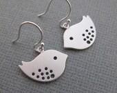 LOVE SALE Sparrow Birds Earrings in STERLING Silver