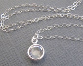 LOVE SALE Crystal Clear Water drop sterling silver necklace