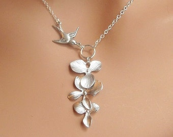 Orchids and Sparrow Bird necklace in STERLING SILVER. Bridal. Weddings. Bridesmaids Gift. Everyday Wear.