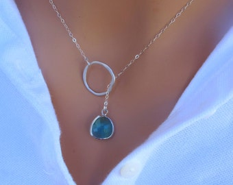 LOVE SALE Emerald Lariat Necklace in Sterling Silver. Bridal. Wedding. Bridesmaids Gift. Everyday Wear.