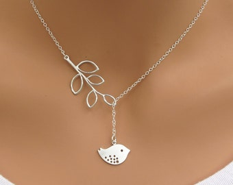 LOVE SALE Detailed Bird and Branch lariat necklace in STERLING Silver