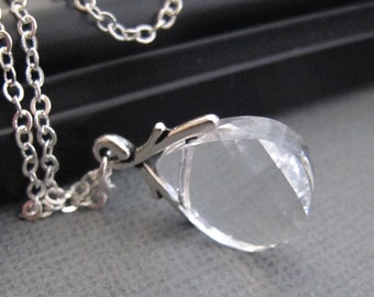 LOVE SALE Crystal Clear Swarovski Briolette necklace in Silver. Bridesmaids Gift. Wedding Earrings.