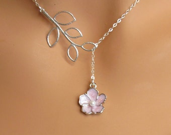 LOVE SALE Pink Flower and Branch sterling silver lariat necklace. Bridal. Wedding. Bridesmaids Gift. Everyday Wear.