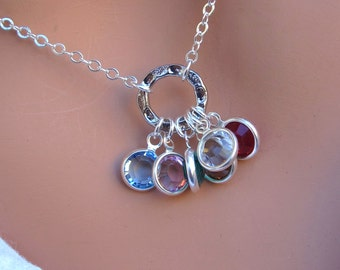 LOVE SALE Family Birthstone necklace in STERLING Silver. Great Gift. Up to 10 Crystals.