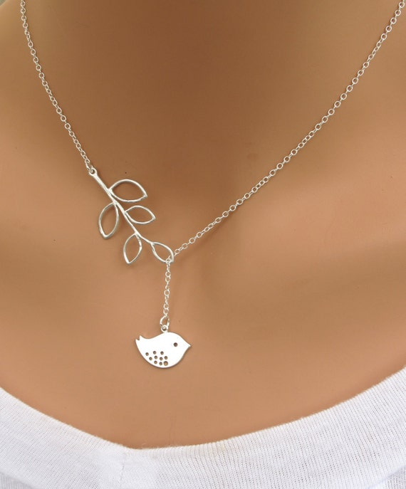 Detailed Bird and Branch lariat necklace in STERLING Silver