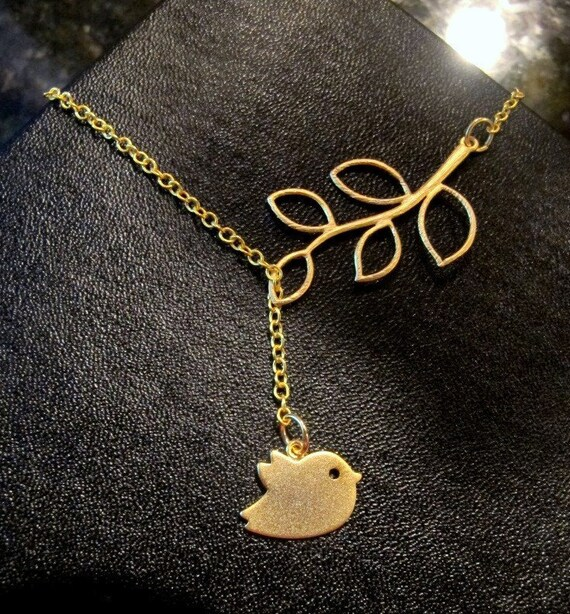LOVE SALE Cute Bird and Branch lariat necklace in GOLD