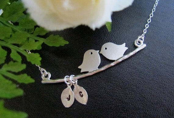 Kissing Love Birds necklace. Personalized. Initials on the Leaf. Couple. Two Love Birds. Anniversary. Marriage. Gift.
