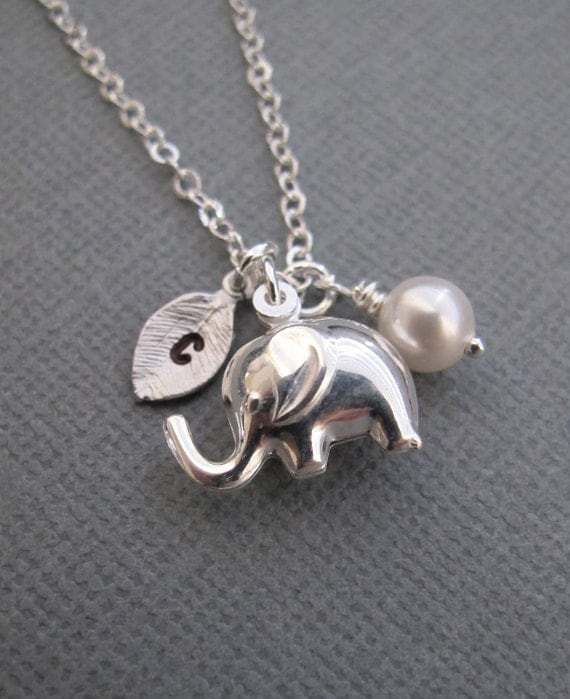 LOVE SALE Personalized Tiny elephant necklace in Sterling Silver. CUSTOM Initial. Birthstone Charm.