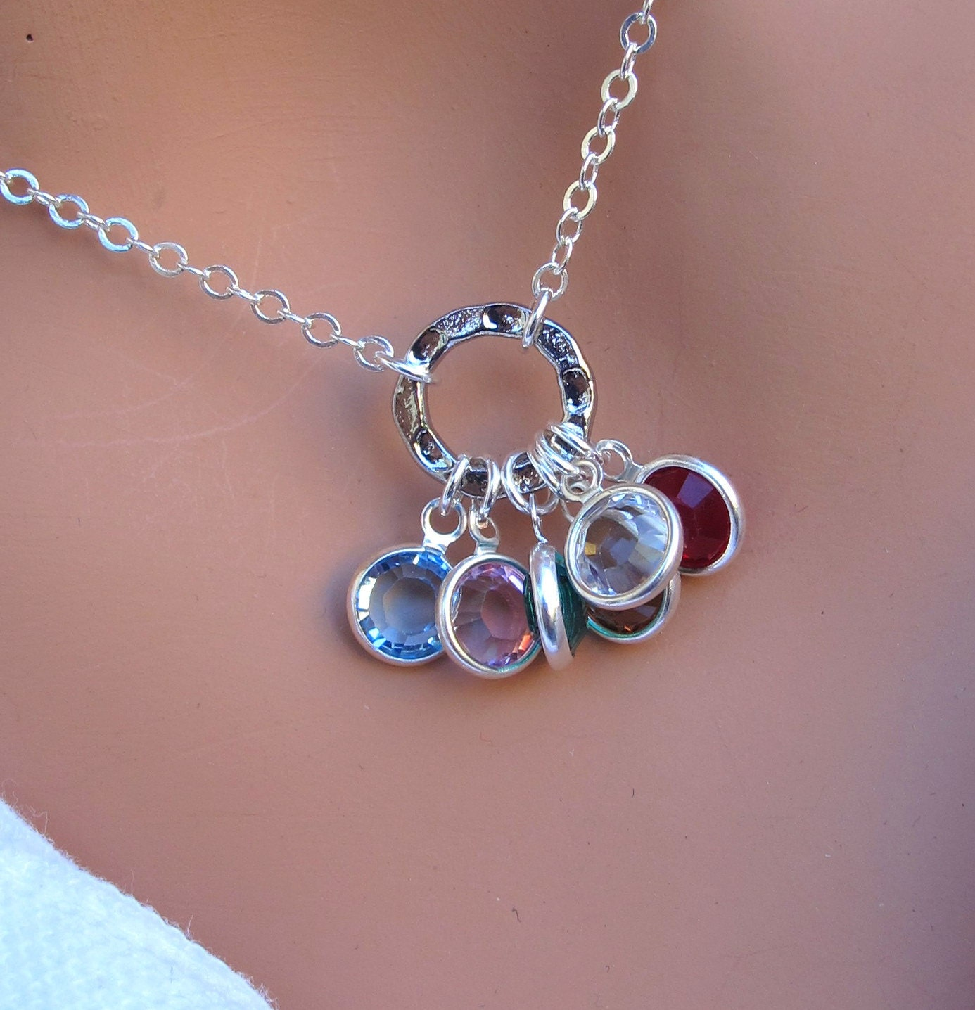 family birthstone necklace in sterling silver by