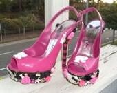 Bling Pink and Black Rhinestone Decoden Heels SALE size 7 3D Peep toe Platform Pumps Pink