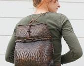 vintage PACK BASKET backpack picnic travel hiking bag a105