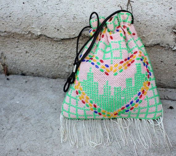 70s MEDICINE BAG fringe & beads heart pouch  a94