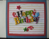 Colorful Happy Birthday Card - Blank Inside