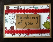 Blank card - 'Thinking of you' hand stamped on the front