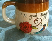 "Antique Brown Thoreau ""All good things are wild and free"" Literary Quote Mug - Hand Painted"