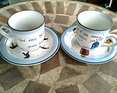 BBC Geek Teacups: Doctor Who and Monty Python's Flying Circus - Tea Quotes, Ministry of Silly Walks, TARDIS, and three Doctors