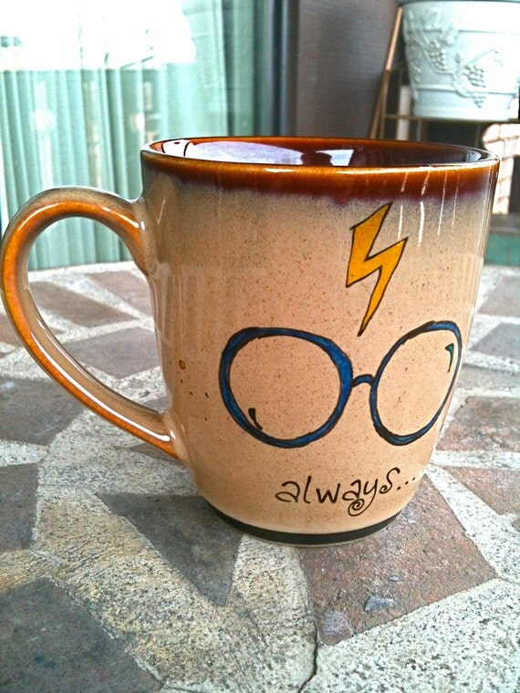 "The Original Always Mug: Small Antique Brown ""Always"" Harry Potter Owl Mug - Hand Painted with lightning bolt and glasses"