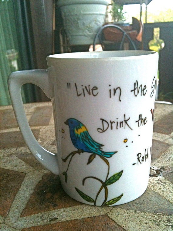 "Ralph Waldo Emerson ""Live in the sunshine"" small white literary quote mug with bird and flowers"