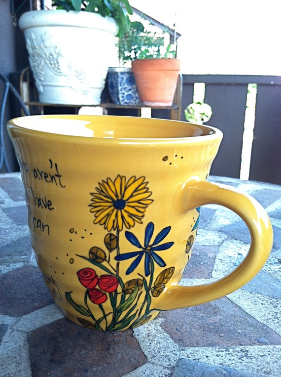 """Anne of Green Gables """"What a splendid day"""" L.M. Montgomery Literary Quote Mug - Medium mustard yellow mug with flowers"""