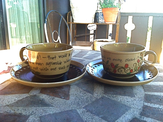 Jane Austen Pride & Prejudice Teacups and Saucers - Set of Two chocolate/toffee colored Elizabeth Bennett Quote mugs