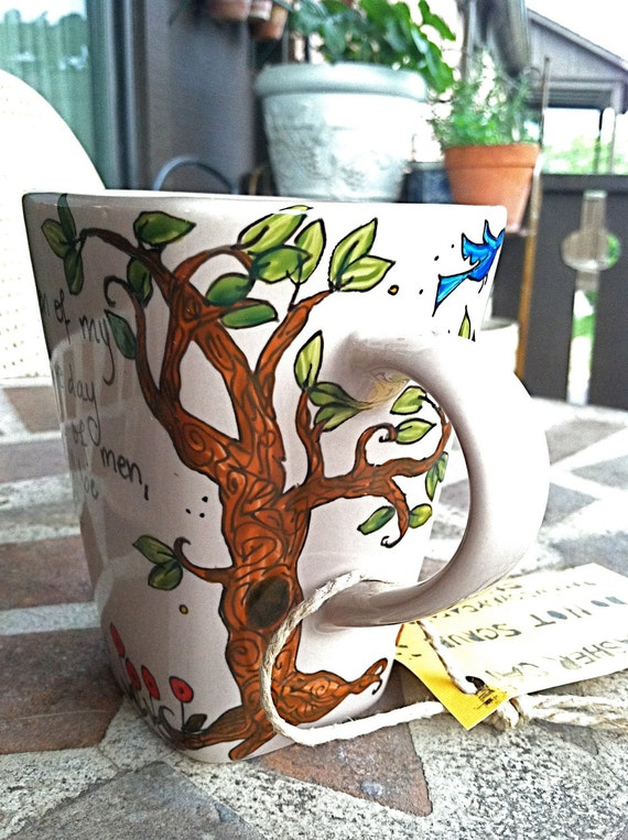 "Alexandre Dumas ""Live, then, and be happy... wait and hope"" pale beige literary quote mug with tree - from The Count of Monte Cristo"