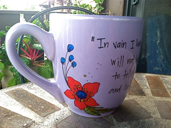 "Jane Austen ""In vain I have struggled"" Pride and Prejudice Literary Quote Mug - Huge lilac hand-painted mug with flowers"