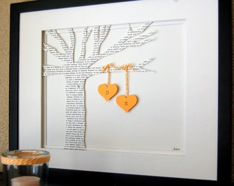 Personalized Wedding gift, ANNIVERSARY gift, Initials, bride & groom, custom wording, Paper Tree in Yellow