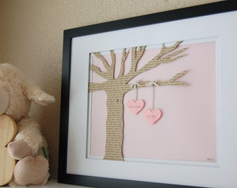 Baby Gift, Baby Shower Gift,  8x10 Framed Personalized Paper Tree