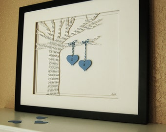 Unique Anniversary Gift, Celebrate Your Favorite Memory, Printed Paper Tree with Hanging Hearts in Blue