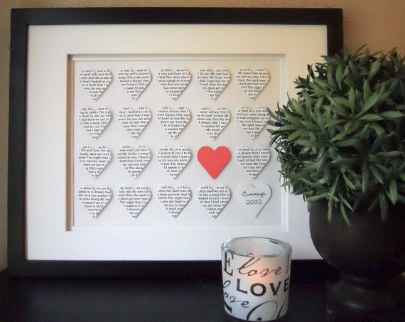 Wedding Gift Framed Art : Personalized Wedding Art, Framed Paper Hearts, Collage Art, Paper ...