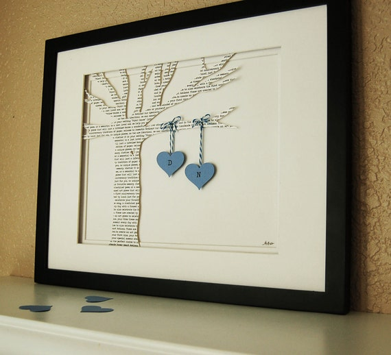 Unique Anniversary Gift: Celebrate Your Favorite Memory, Printed Paper Tree with Hanging Hearts in Blue