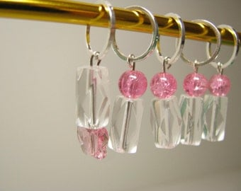 Stitch Markers - Set of 5 - Pink Butterfly