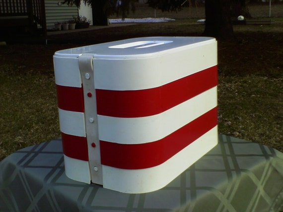 Think Summer Red an White Retro Picnic Basket