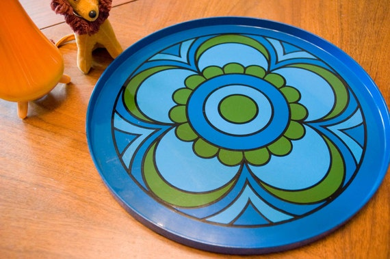 Dark Blue and Olive Green Flower Power Plastic Serving Plate