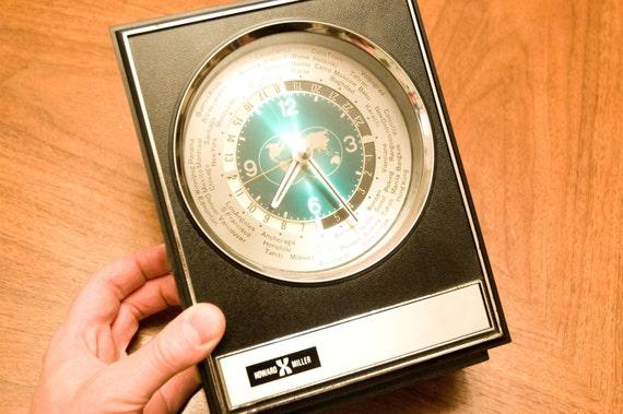 Vintage Modern Howard Miller World Clock 1950s Madmen Style