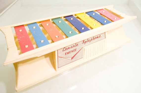 Vintage Tan and Rainbow Emanee Console Toy Xylophone