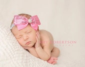 BOWTIQUE BEAUTY  Headband -Choose Your Sequin Bow with Crystal Cluster Center on Platinum Headband - Preemie to Adult Sizes Available
