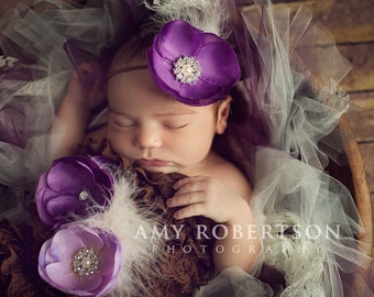 PURPLE GLAM Headband - Preemie to Adult Sizes Available