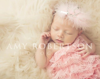 LUXE LIL PRINCESS Tiara with Feather Accent - Preemie to Adult Sizes Available
