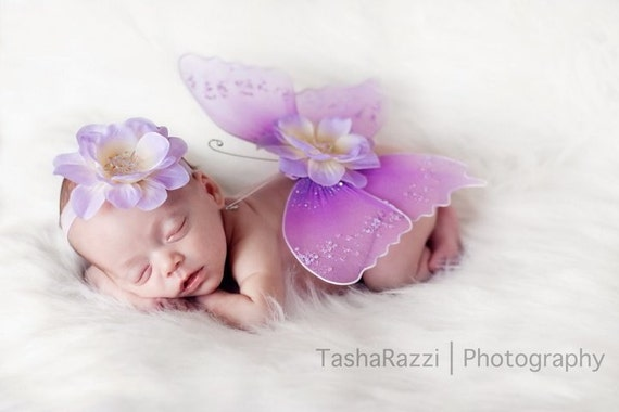 DREAMY Lilac and Lavendar Jeweled Angel Butterfly WINGS -Straps can be added for Older Girls/Babies - Gorgeous Photo Prop