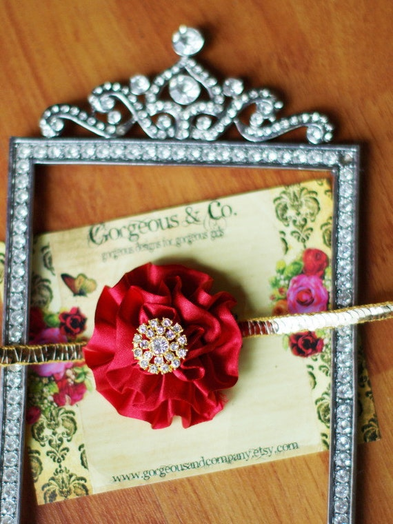ROYAL IN RED Or You Choose Your Color Headband- Gorgeous Gold Sequin Band with Red Rosette and Vintage Gold Accent