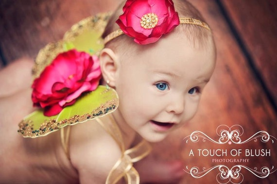 DULCE BEBE Gorgeous Gold Sequin and Deep Pink Flower HEADBAND - Matches Dulce Bebe Wings - Stunning Photo Prop - All Sizes Available