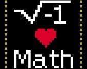 I heart Math cross stitch pattern PDF